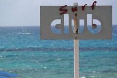 Surf Club sign on a beach in Lefkada, Greece